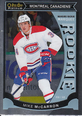 15/16 O-Pee-Chee Opc Platinum Rookie Rc #M39 Mike Mccarron Canadiens *16183