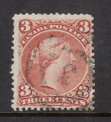 Canada #25v Used With 2 Ring 3 With Cracked Plate Variety
