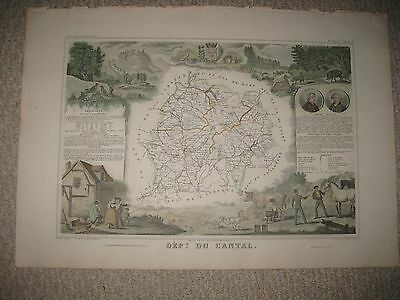 Masterpiece Antique 1852 Cantal Aurillac France Levasseur Map Wine Food Culture