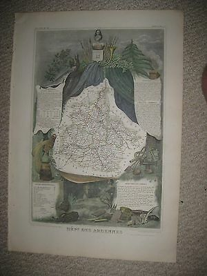 Masterpiece Antique 1852 Ardennes France Levasseur Map Wine Food Culture Fine Nr