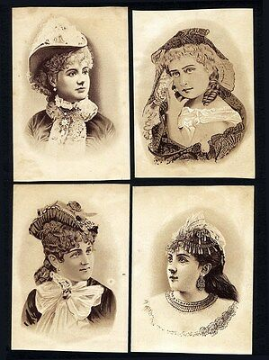 DOMESTIC SEWING MACHINE - 4 Trade Cards 1880's - Pretty Women in Victorian Hats