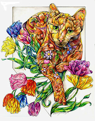 SPRING CAT with TULIPS 8x10  CAT Art Print by Sherry Shipley