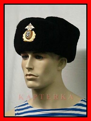 ☆ Original Russische Kriegsmarine Winter Uniform Wintermütze Uschanka Fellmütze