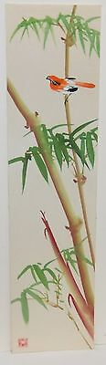 Old Japanese Bird On Bamboo Tree Original Watercolor Silk Painting Signed