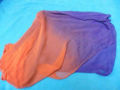 Pretty floaty ladies silk purple & orange dupatta scarf from India. Asian Indian