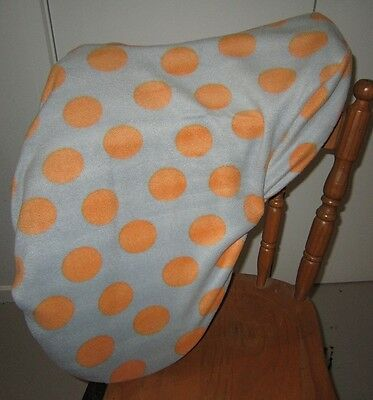 Horse Saddle cover Grey & Orange dots + FREE EMBROIDERY Aussie Made Protection