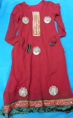 fits UK 10 Indian traditional red Kurta dress ideal for weddings Asian, lined