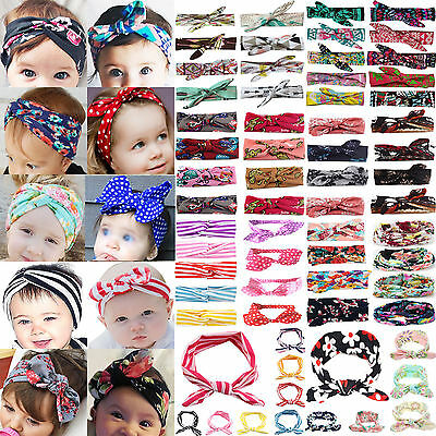NT Girls Kids Baby Toddler Turban Knot Rabbit Headband Bow Hairband Head Bands