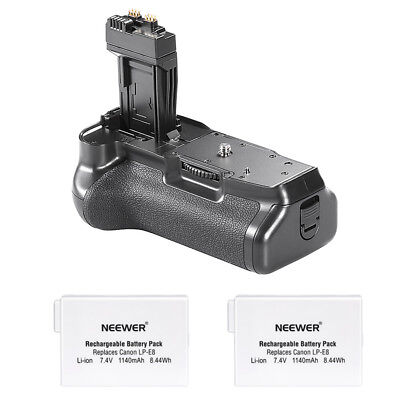 Neewer Battery Grip for Canon EOS 550D 650D Rebel T3i/T5i +Batteries f 2x LP-E8