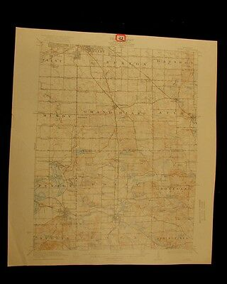 Flint Fenton Holly Michigan 1922 vintage USGS Topo color chart map