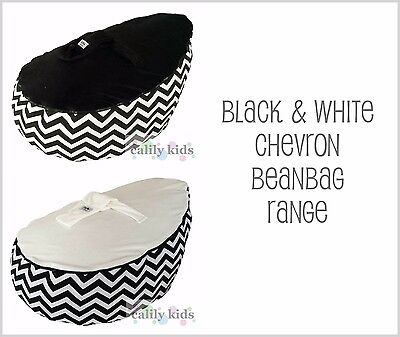 NEW Baby Kids Portable Bean Bag Seat - BLACK & WHITE CHEVRON - ACCC approved