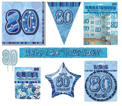 80th Birthday/Age 80 - BLUE PARTY ITEMS Decorations Tableware - Large Range