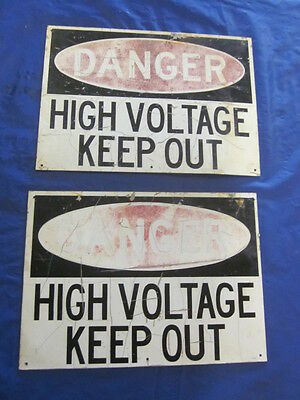 2 Original Used Danger High Voltage Keep Out Metal Aluminum Signs