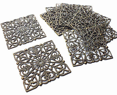 10 x Bronze Tone Square Filigree Stamped Embellishment 40mm, Craft Scrapbooking