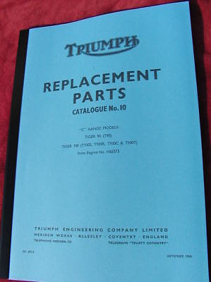 new SPARE PARTS BOOK-catalogue 10 vital reference manual -TRIUMPH T90 T100 1969