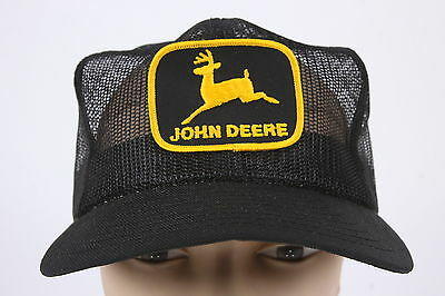 Vintage John Deere Adjustable Trucker Hat Black with Yellow Logo Snapback