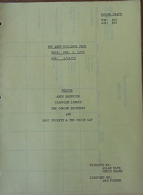 The Andy Williams  Show Tv Series Show Script Episode Andy Griffith