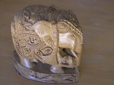 Vintage Very elaborately hand carved wooden sculpture of Elephant Lions Gazelles
