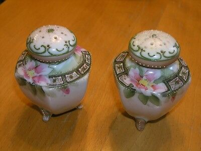Pair Antique Japan Nippon Moriage Hand Painted Floral Detail Salt Pepper Shakers