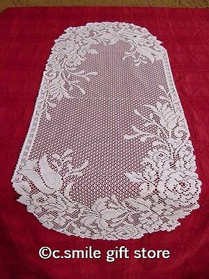 """Heritage Lace *GARDEN GLORY* 14"""" x 36"""" Table Runner Color: White"""