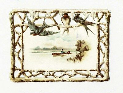 DIE CUT Border - VICTORIAN Greeting Card 1880s - Snow Birds - Boat Country Scene