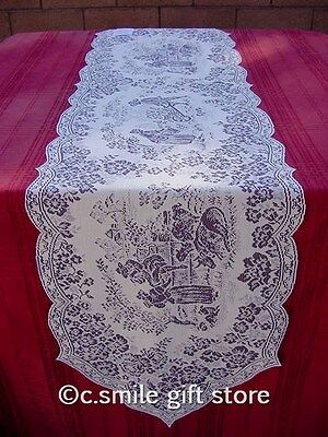 """Heritage Lace *LES FLEURS* Table Runner 14"""" x 59"""" Blue/Ivory"""