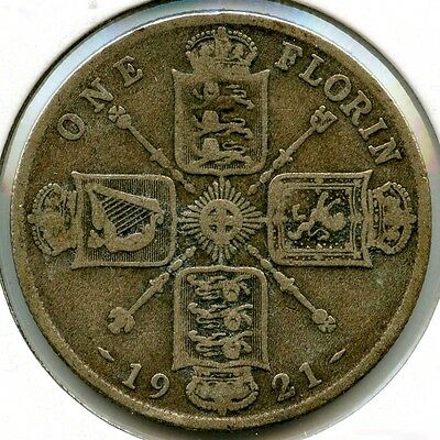 Great Britain 1921 Silver Coin - One Florin - King George V - WFC AF718