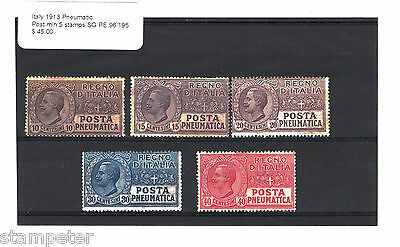 1913 Italy Pneumatic Post SG PE 96/195 5 stamps MLH