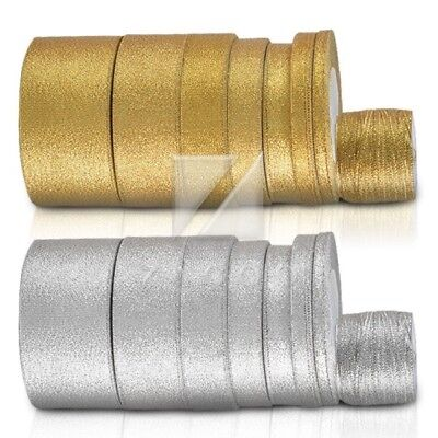 3/6/10/15/20/25/38/50mm 25/50Yards Gold/Silver Organza Ribbon Wedding Party DIY