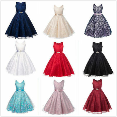 New Girls Sequinned Dress Flower Sash Sleeveless Formal Party Wedding Bridesmaid