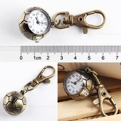 Bronze Tone Football Quartz Pocket Watch Stainless Steel Retro Key Ring Decor