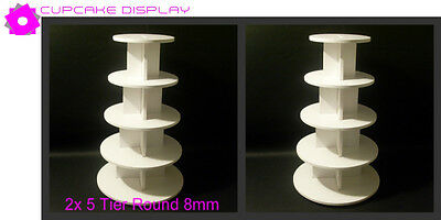 2 x 5 tier round 8MM wedding birthday party cupcake cup cake stand strong