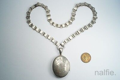 ANTIQUE ENGLISH VICTORIAN PERIOD SILVER BOOKCHAIN & AESTHETIC LOCKET c1881