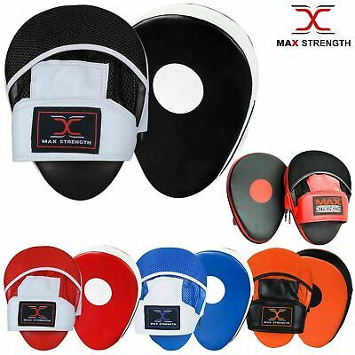 Rex Leather Gel Curved Focus Pads Hook and Jab Boxing Punch Training Mesh Mitts