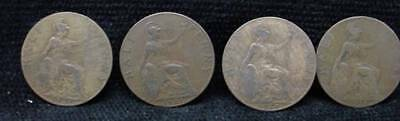 4 English British Half Penny Coins 1921 x 3 and a 1915