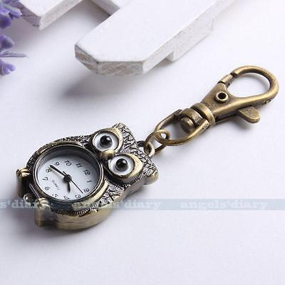 Antique Brone Tone Owl Key Ring Chain Pendant Pocket Quartz Watch Kid Gift