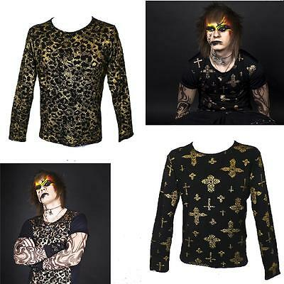 Boys Men Metallic Top T Shirt Dance Costume Hip Hop Stage Theatre Goth Freestyle