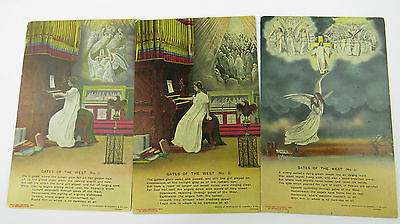 Bamforth Song Postcards 1910s x 3  GATES OF THE WEST  No 4537/1/2/3