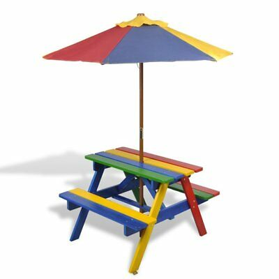 Kids Wooden Rainbow Garden Picnic Table Bench Parasol Outdoor BBQ Barbecue NEW