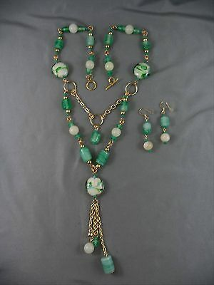 Artisan Green White Glass Bead Necklace & Earring Lavaliere Style Drippy Elegant