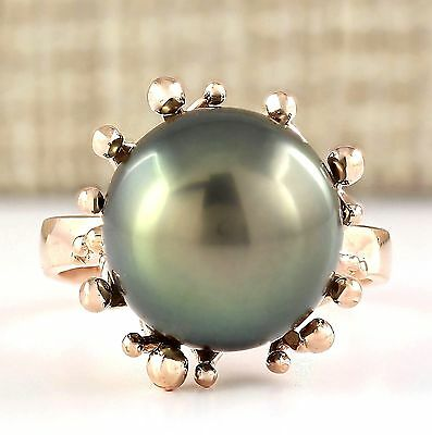 NATURAL 12.45mm BLACK PEARL  RING 14K ROSE GOLD