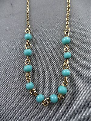 "Delicate Vintage Necklace Goldtone 15"" Turquoise Teal Glass Beads"