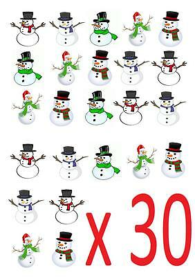 30 Snowman Christmas STAND UP Cupcake Cake Toppers Edible decorations fairy