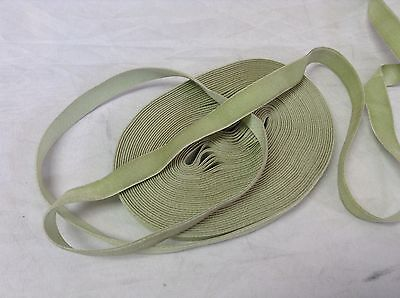 "5 Yards HANK FRENCH 5/8"" Mint Green Vintage Silk Rayon Satin Back Velvet Ribbon"