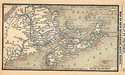RARE Antique NEW BRUNSWICK Nova Scotia Map 1886 RARE MINIATURE Vintage Map 2939