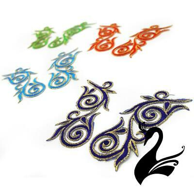 Motif Iron-On Embroidered Royal Swirl Applique Style 4988 12cm (Price per Pair)