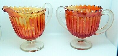 Vintage Carnival Glass Cream and Suger Set # 1 of 5