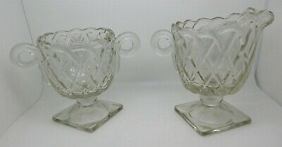 Vintage Clear Glass Diamond Pattern Cream & Sugar Set 3 of 5