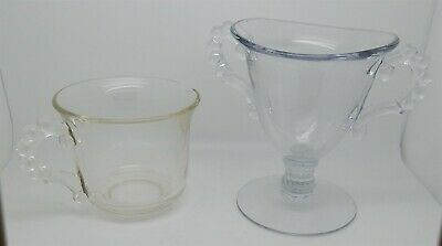 Vintage Clear Glass Cream & Sugar Set 4 of 5