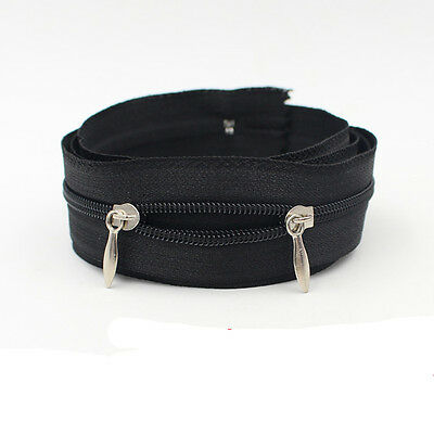 Black Double head Zipper for Clothing or Bags 100 CM 150 CM